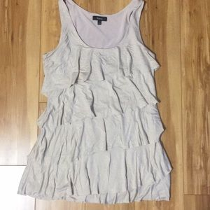 Express cream sparkly ruffle dress